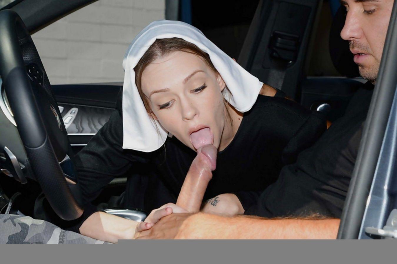 Худощавая монашка отблагодарила мужчину своим ртом и пиздой